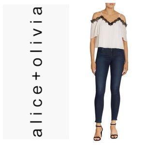 NWT Alice & Olivia Fefe Cold Shoulder Lace Top